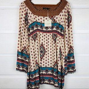 BLU PEPPER Tribal Aztec Print Boho Dress